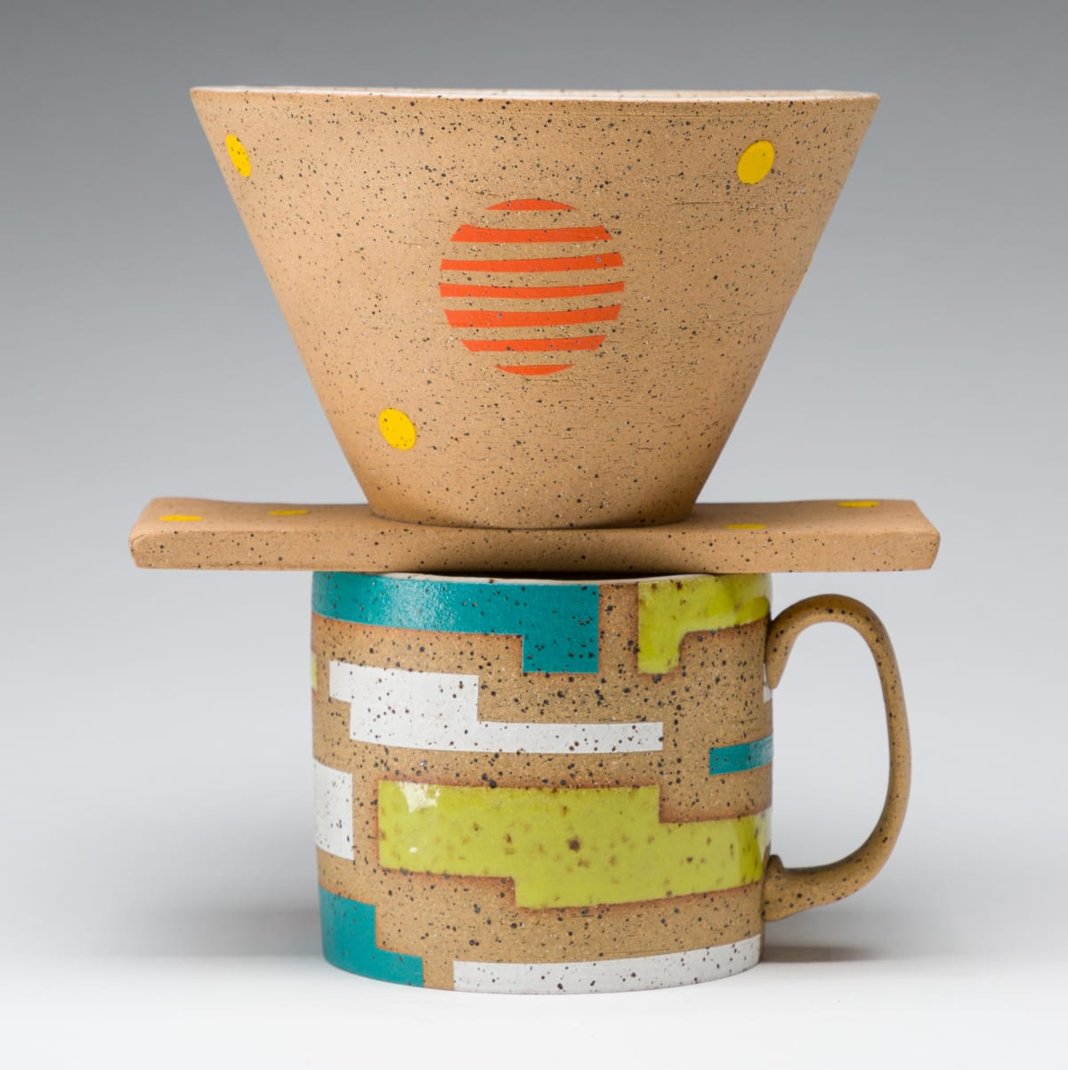 Rachel Donner, Coffee Pour-Over with Yellow Dots, 2019