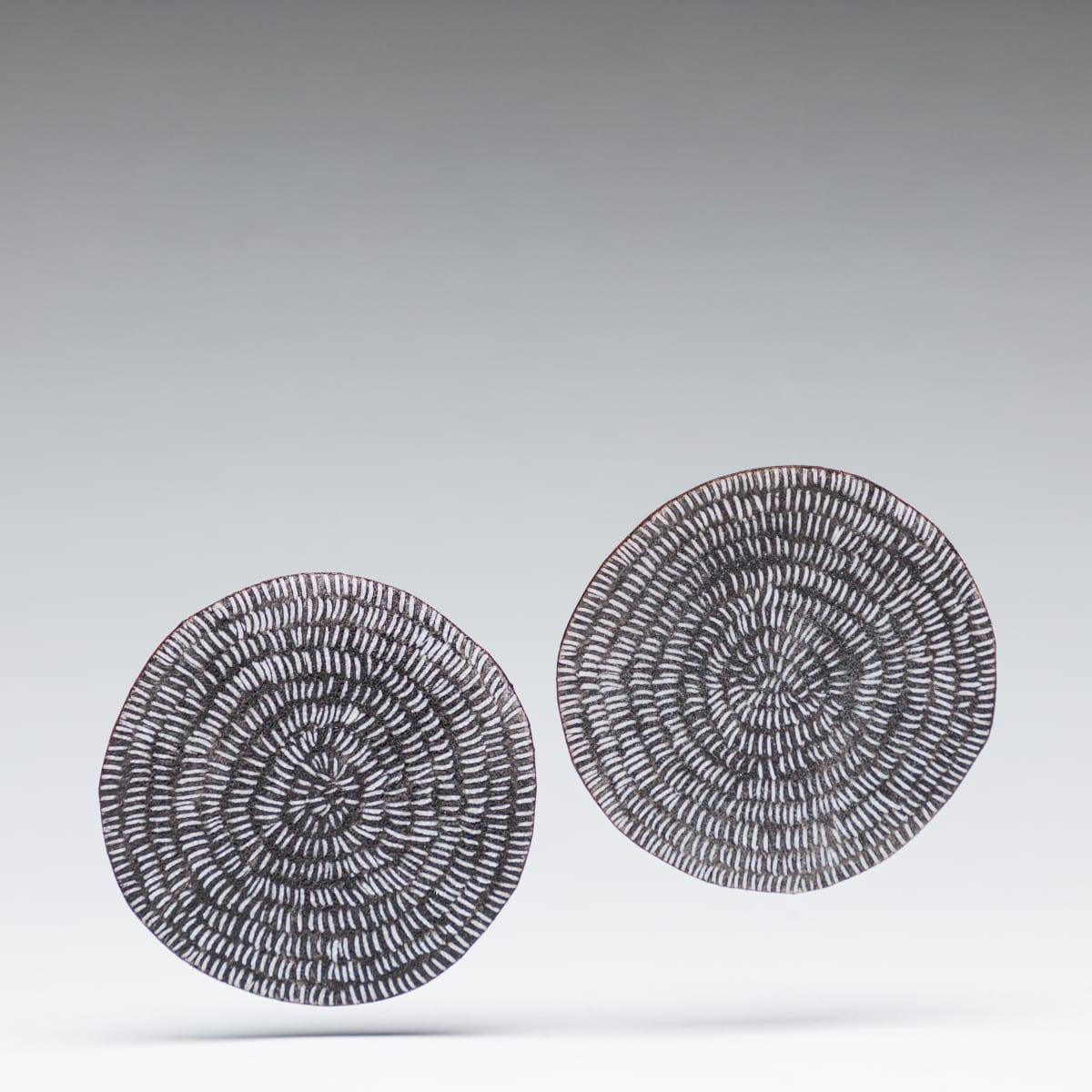 Tanya Crane, Round Sgraffito Earrlings-Black and White, 2019