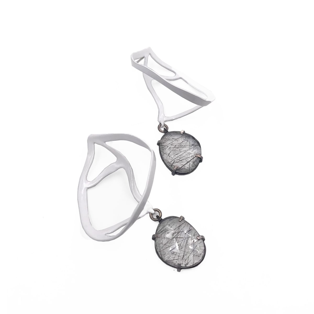 Laura Wood, Open Weave Fan Earrings