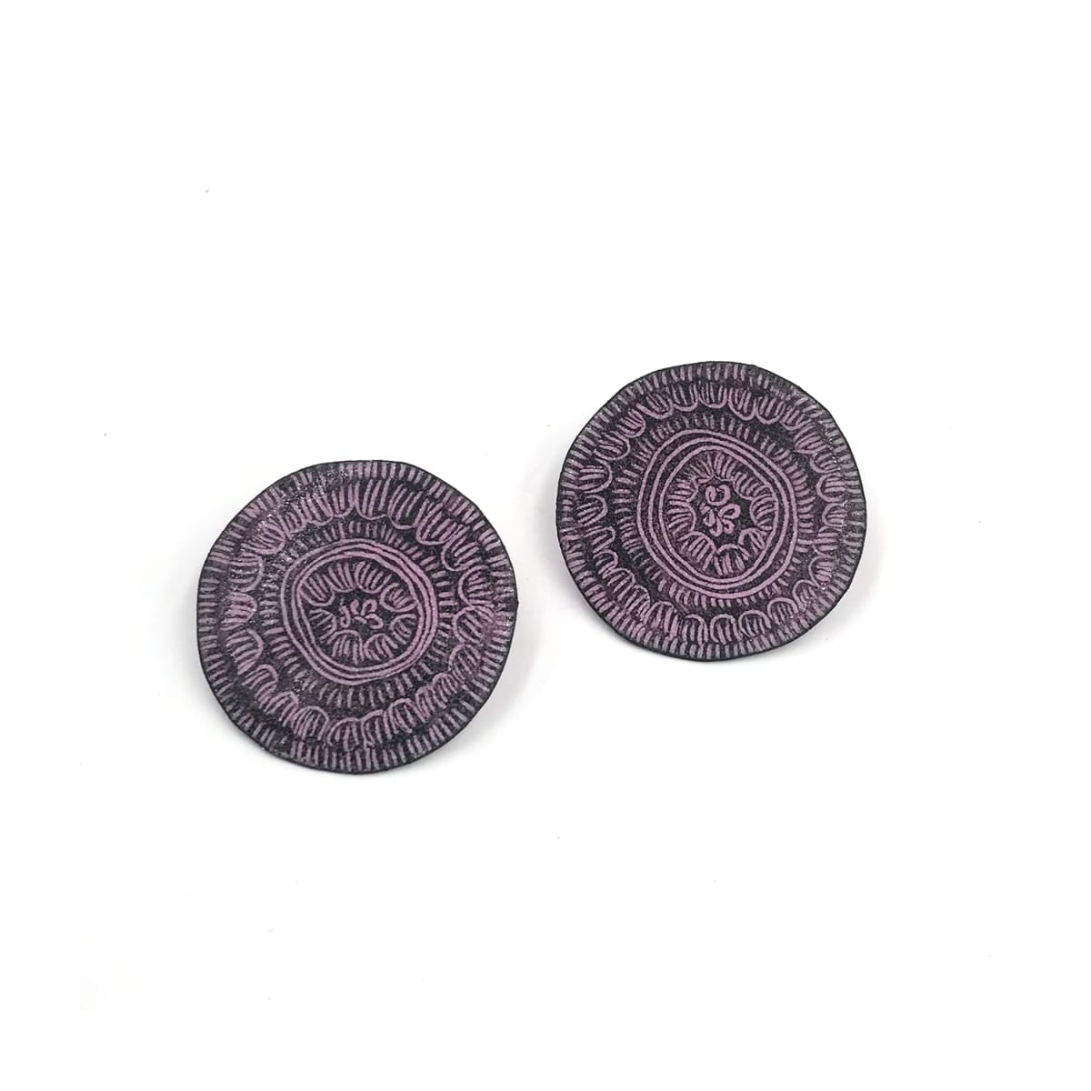 "Tanya Crane, Small (1.5"") round loop and dash pink earrings"
