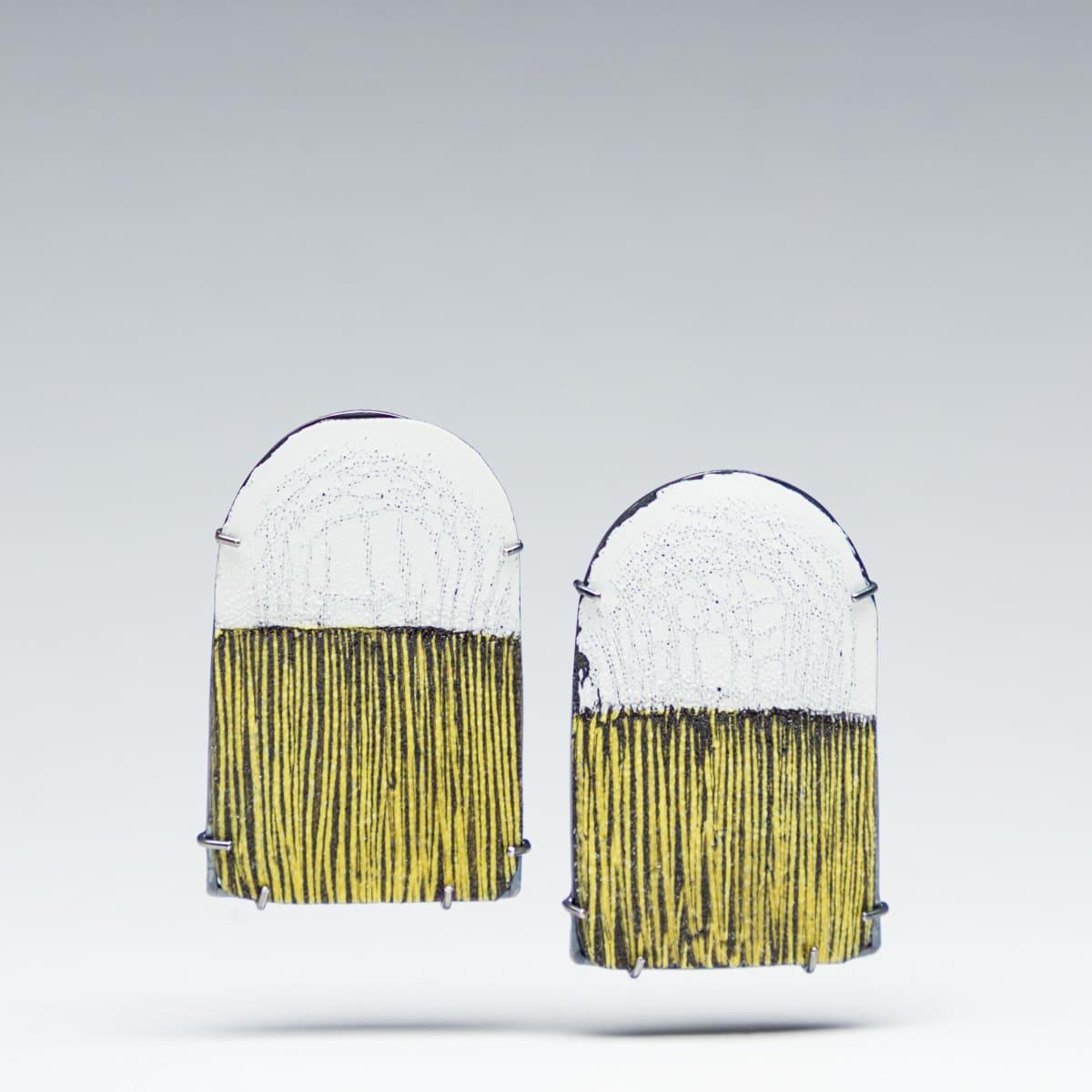Tanya Crane, Arc Earrings-White, Yellow and Black, 2019