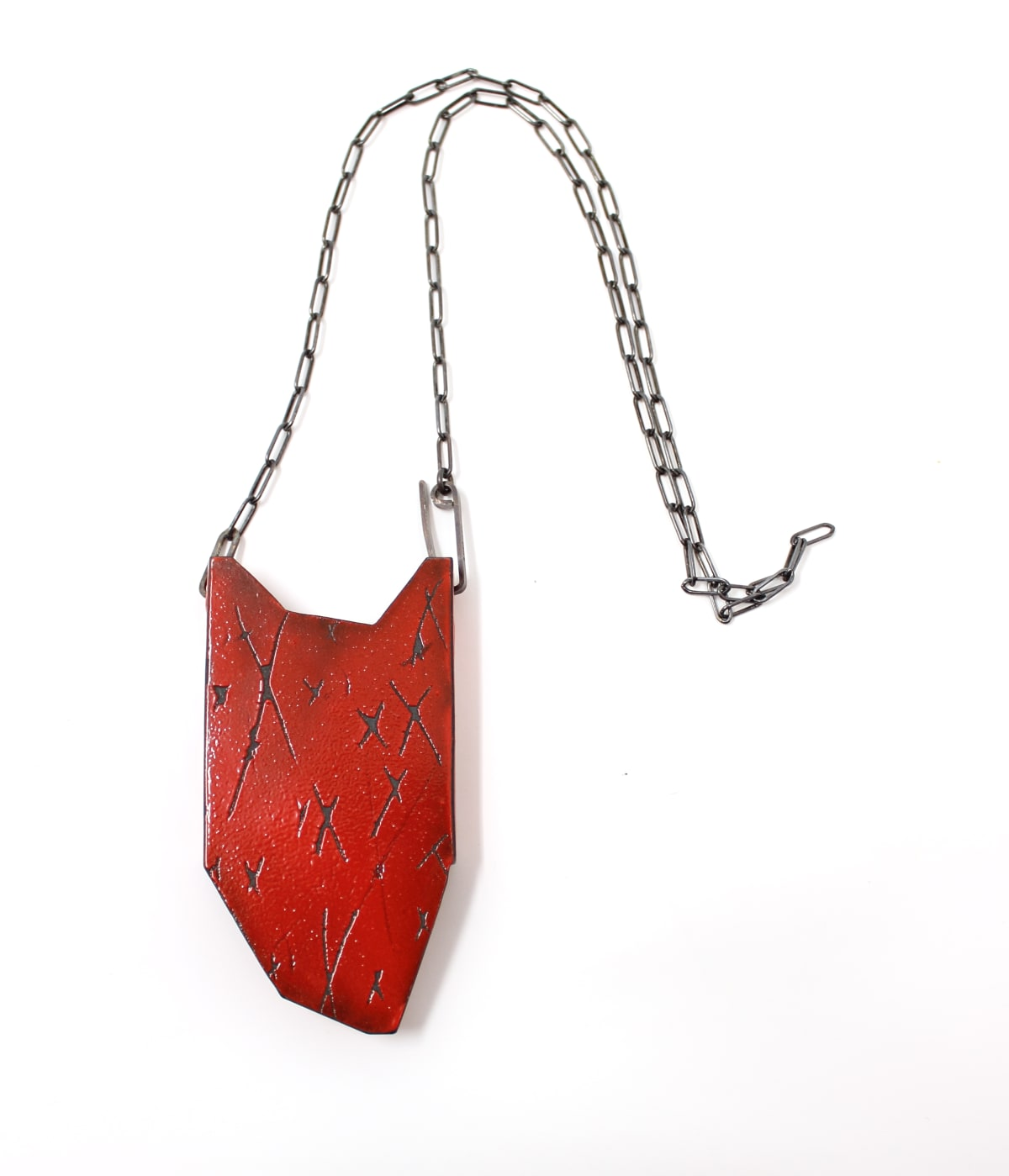 Kat Cole, Folded Pendant (Red Xs)