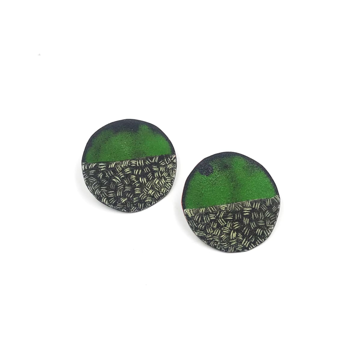 "Tanya Crane, Small (1.5"") round triple dash green earrings"