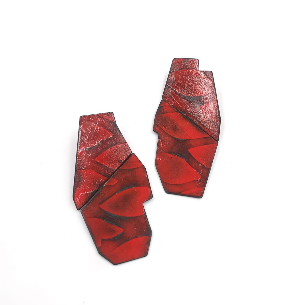 Kat Cole, Boundary Line Earrings (Red Etch Grates)
