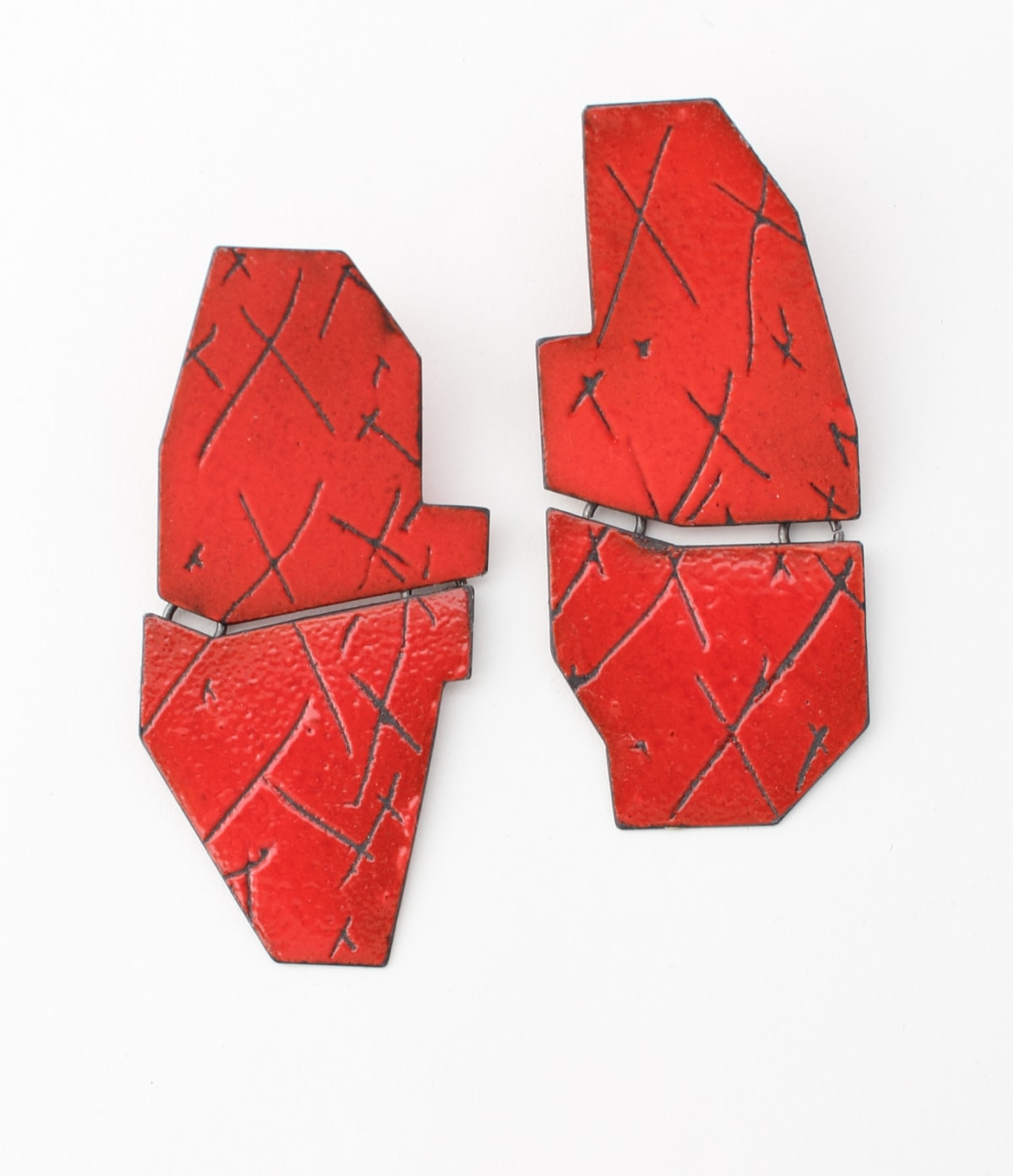 Kat Cole, Boundary Line Earrings (Red Xs)