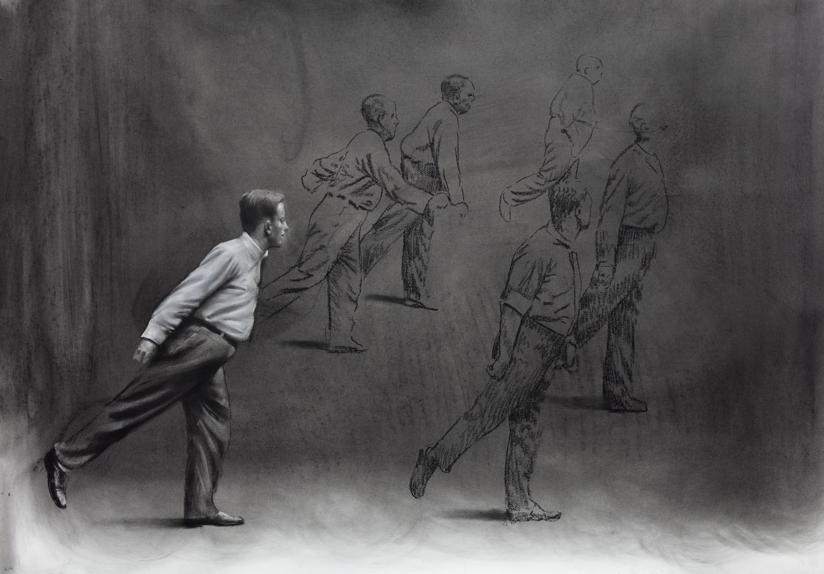 Mircea Suciu, 'Study for people moving to the right', 2012 Charcoal on paper, 94 x 137 cm.