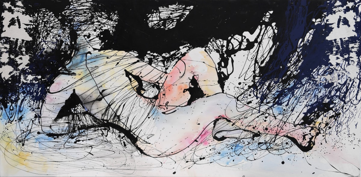 Odalisque Au Fil Noir 195X97 Watercolor And Oil On Canvas Agn S Pezeu Mi018 4