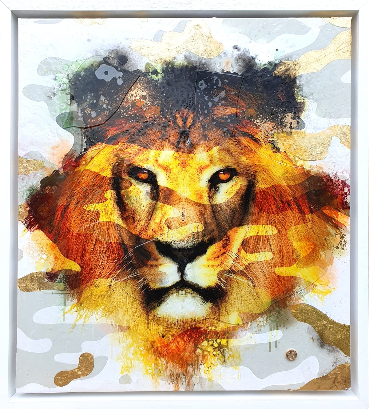 "Dan Pearce Title: Fearless (camo gold) Size: 30"" x 34"" Price: £1,850 (Framed)"