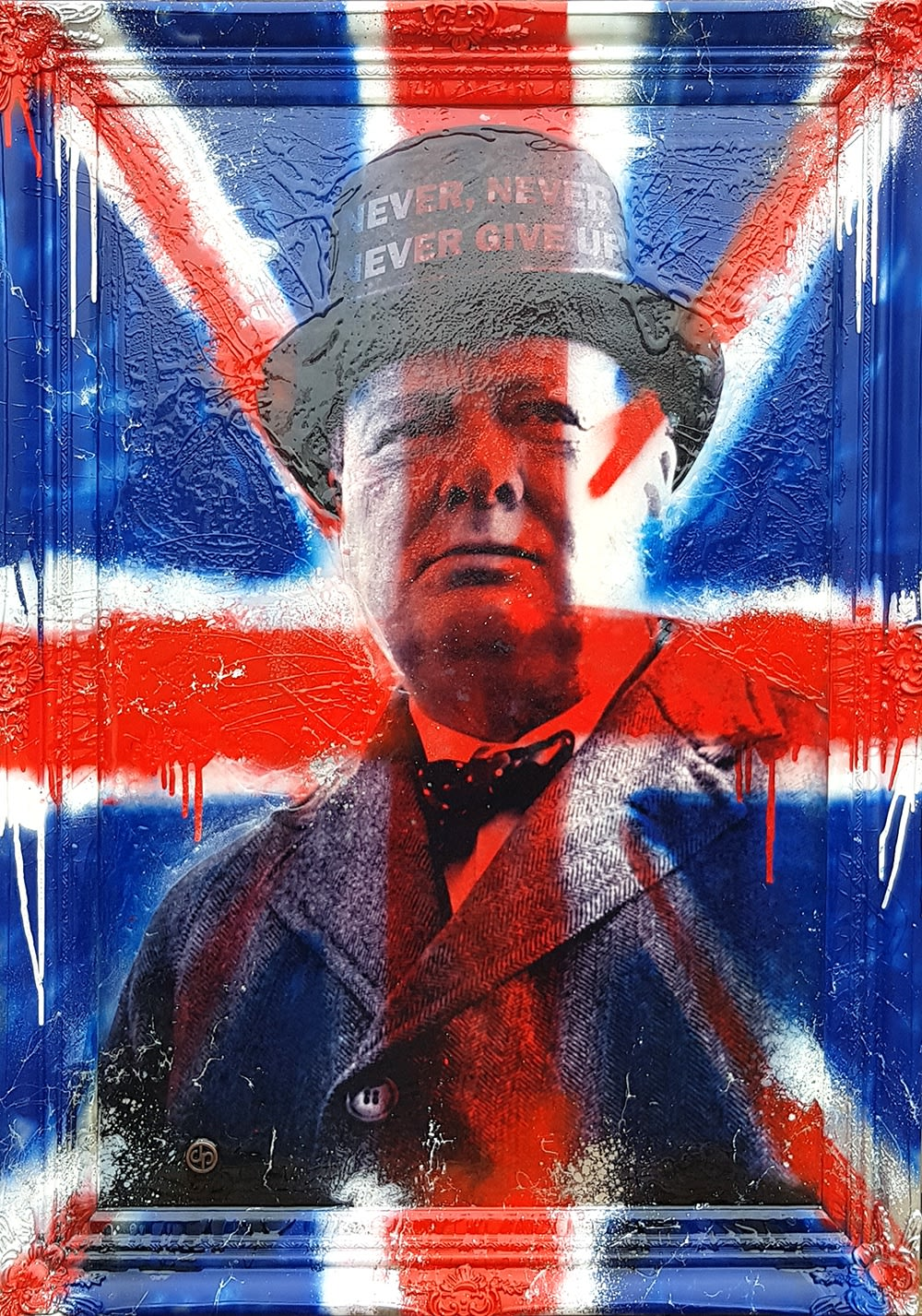 "Dan Pearce Title: Winston - Never Give Up Size: 28.5"" x 40"" Price: £1,750 (Framed)"