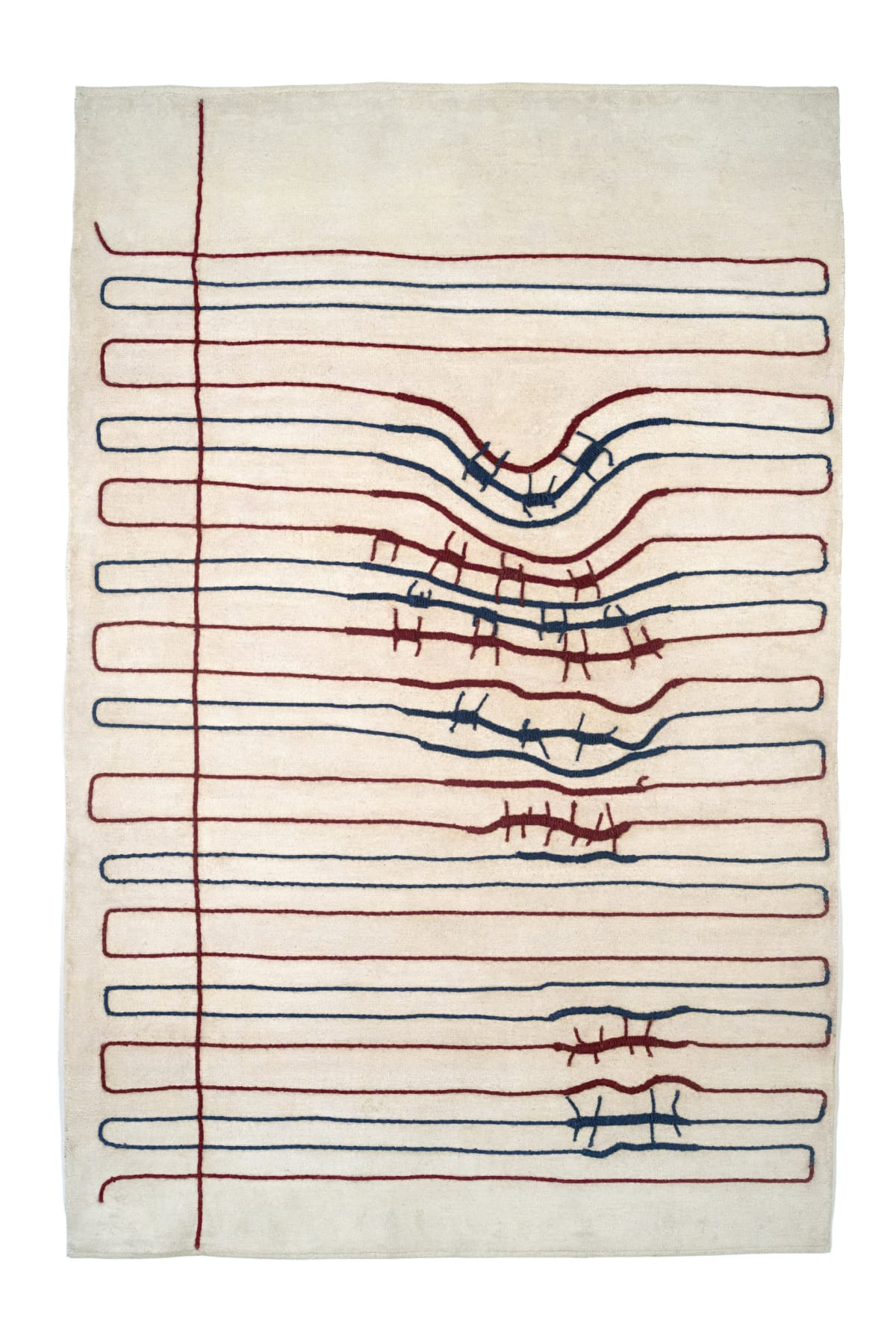 Reena Saini Kallat, Ruled Paper (red, blue, white), 2018-2019