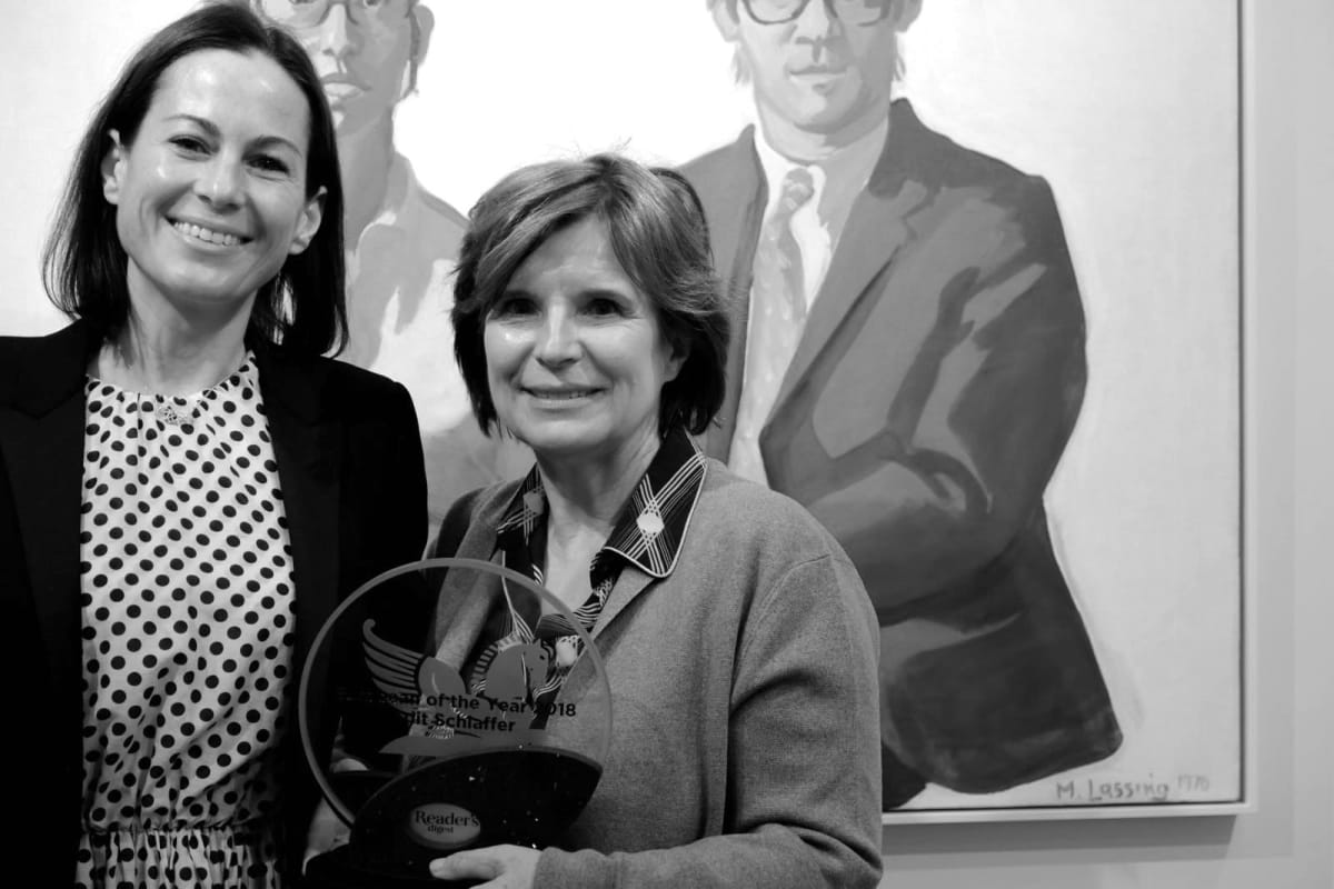 "Dr. Edit Schlaffer receiving the award for ""European of the Year"", pictured with Birgit Lauda. Painting by Maria Lassnig."