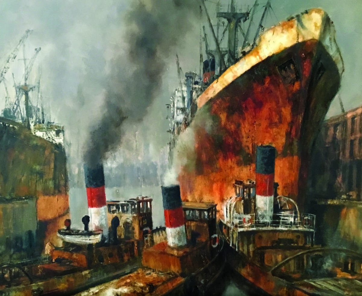 tugboats under rusting hulls of tankers by Tower Bridge London