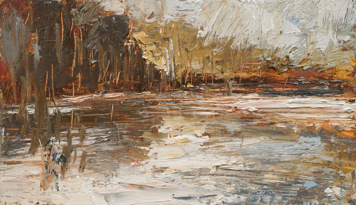 Creek Reflections (Sienna Gold) I oil on board 21 x 36 cm