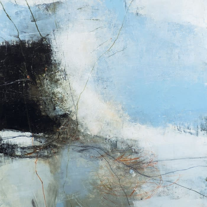 Lewis Noble Down by the Sea, Craster oil and mixed media on canvas 76 x 76 cm