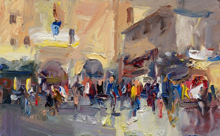 Market Day in the Piazza, Orta San Giulio oil on board 25 x 40 cm