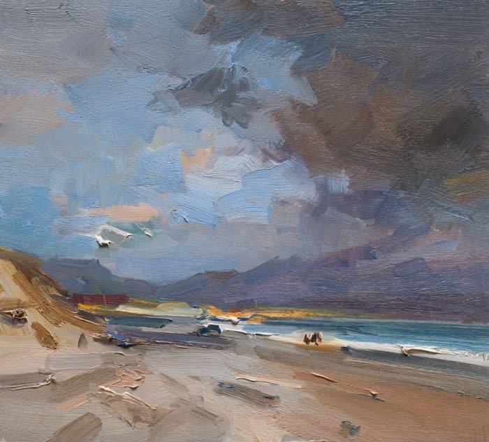 Horses on the Beach, Kilshannig, Co. Kerry oil on board 46 x 50 cm