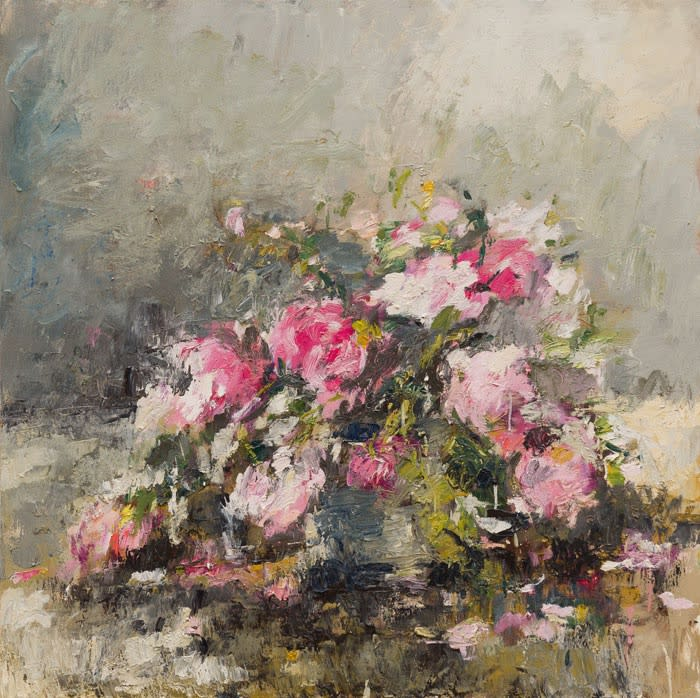 Garden Roses (June) II oil on canvas 100 x 100 cm