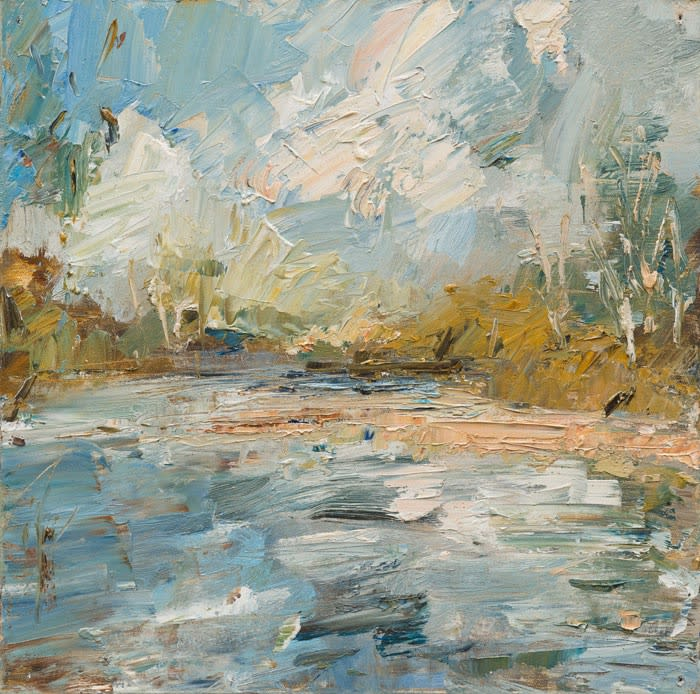 Creek Water Shifting Clouds oil on canvas 51 x 51 cm