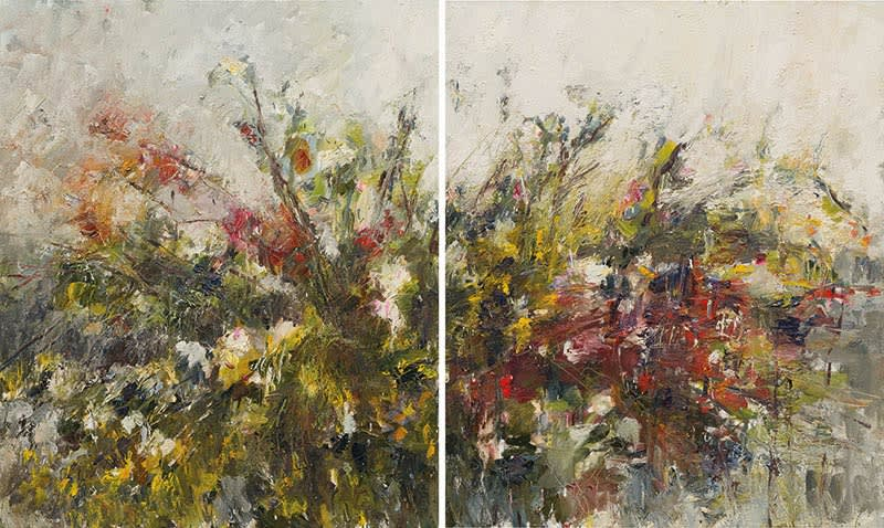 Autumn Hedgerow (Diptych) oil on canvas both paintings 120 x 100 cm