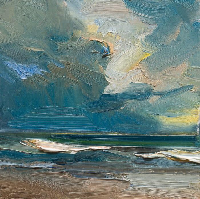 Evening Sea, West Ireland oil on board 30 x 30 cm