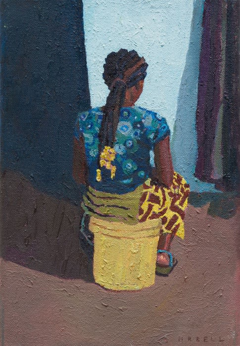Seated and waiting oil on canvas 24 x 16 cm
