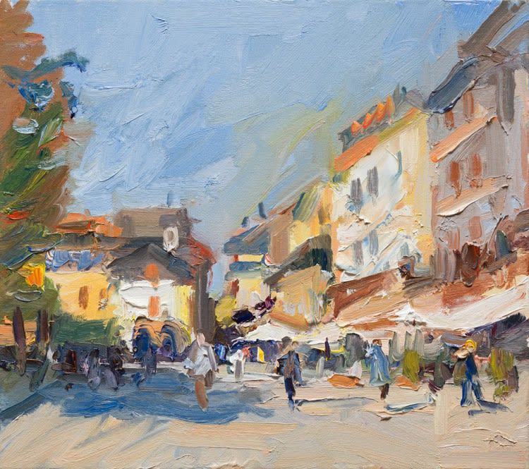 Early Autumn Morning in the Piazza, Orta San Giulio oil on canvas 41 x 46 cm