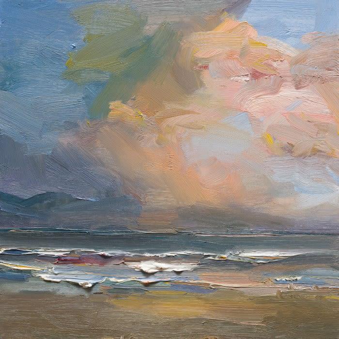 Evening on Kilshannig Beach, Co. Kerry oil on board 40 x 40 cm