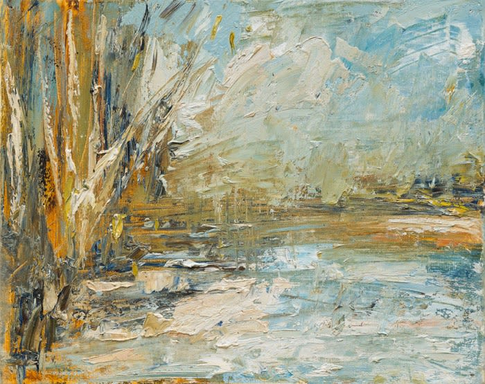 Creek Shifting Clouds II oil on canvas 41 x 51 cm