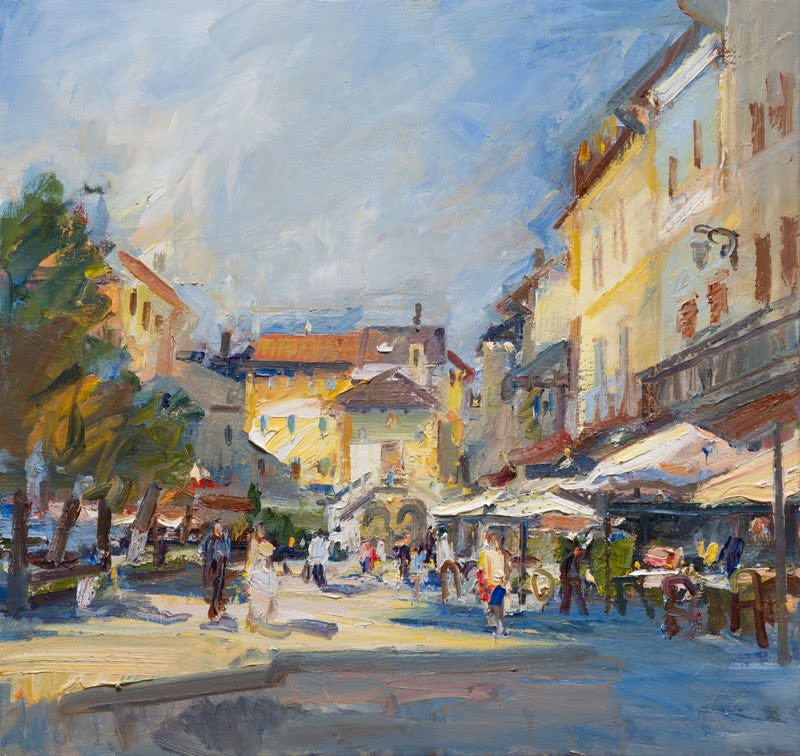 Morning in the Piazza, Orta San Giulio oil on canvas 96 x 102 cm