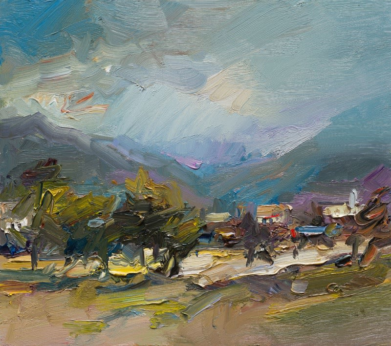 View to the Mountains, Postua II oil on board 40 x 46 cm