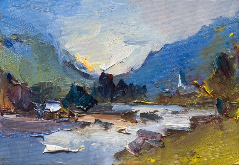 Autumn Evening by a River, Late Summer. Riva Valdobbia oil on canvas 21 x 30 cm