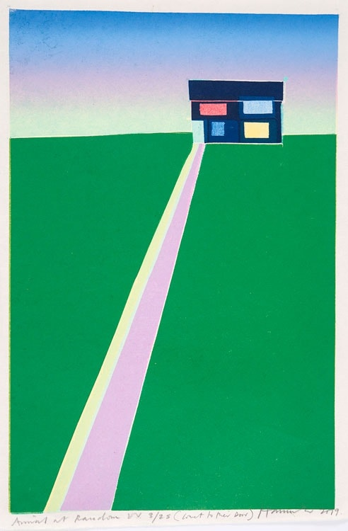 Tom Hammick Arrival at Racedown Edition variable reduction woodcut 49 x 33.5 cm edition of 25 Framed