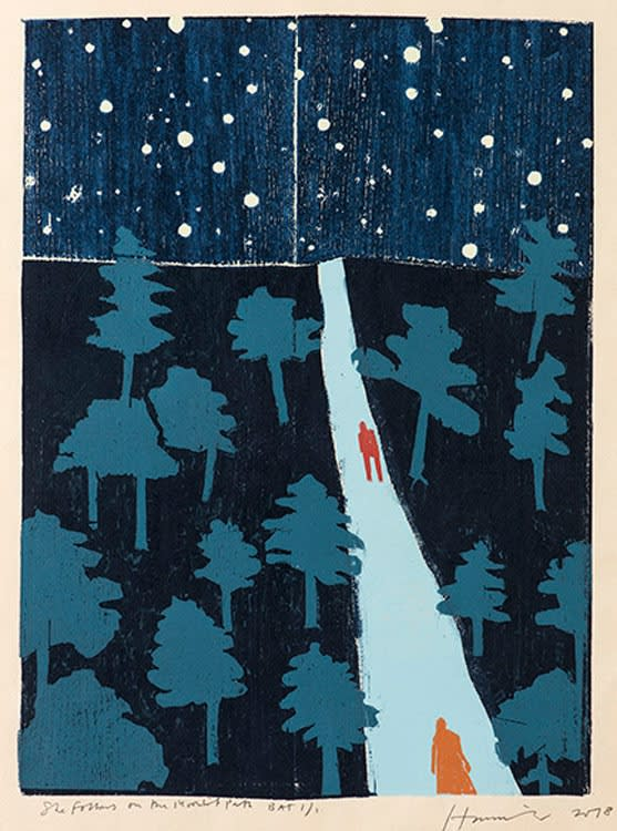 Tom Hammick Moonlit Path Edition variable reduction woodcut and hand painted 55 x 42 cm edition of 10 Framed