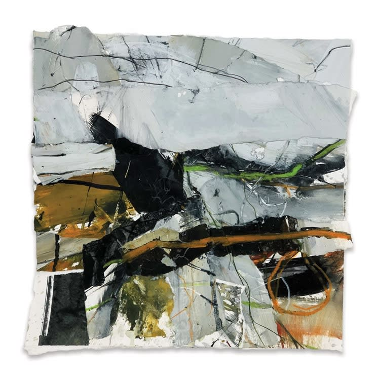 Lewis Noble Winter Greys acrylic and collage on paper 40 x 40 cm