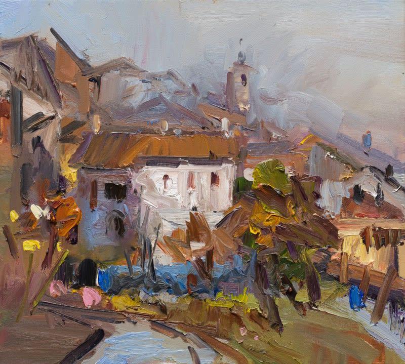Scenes from an Italian Garden II oil on canvas 46 x 57 cm