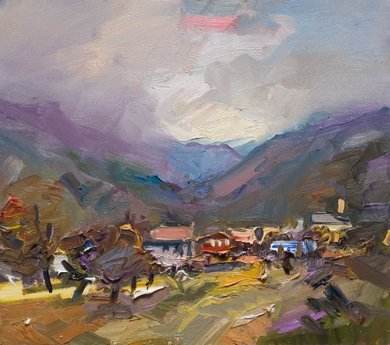 View to the Mountains, Postua I oil on board 40 x 46 cm