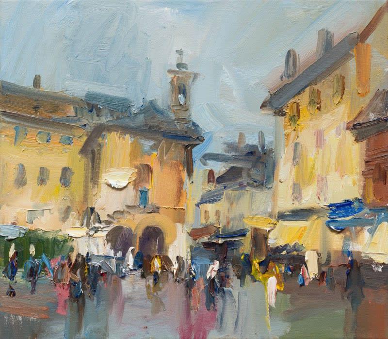 September Rain in the Piazza, Orta San Giulio oil on canvas 40 x 46 cm