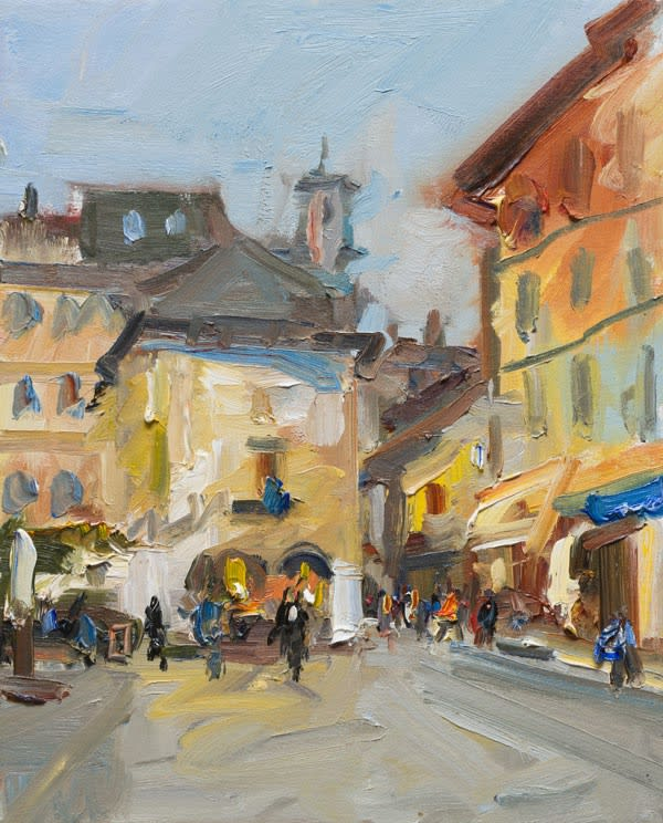 Early Morning in the Piazza, Orta San Giulio oil on canvas 51 x 41 cm