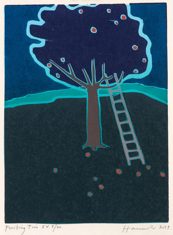 Tom Hammick Fruiting Time Edition variable reduction woodcut 34.5 x 25.5 cm edition of 20 Framed