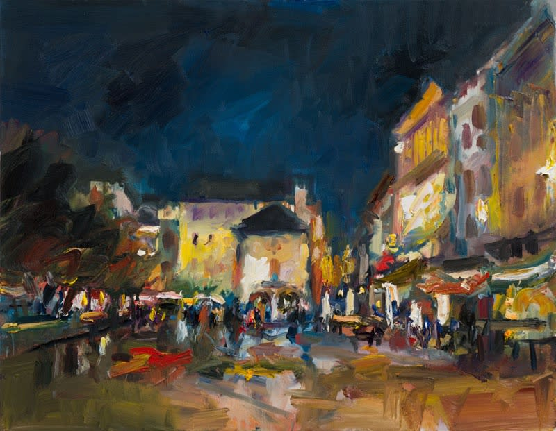 Sunday Evening in the Piazza, Orta San Giulio oil on canvas 71 x 92 cm