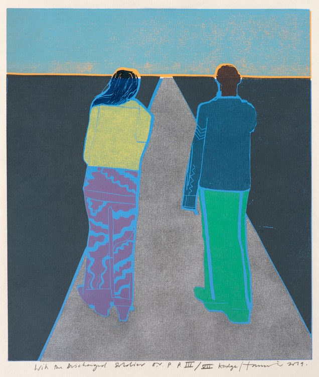 Tom Hammick With the Discharged Soldier Edition variable reduction woodcut 39 x 33 cm edition of 22 Framed