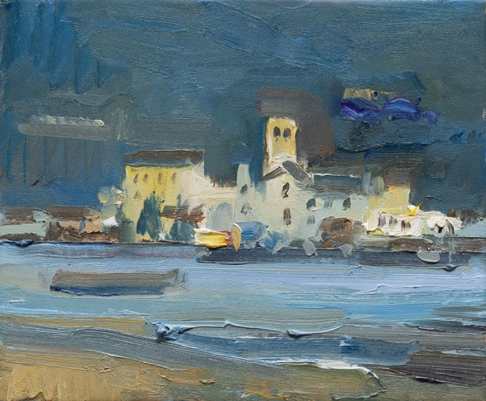 The Island of San Giulio from the Shore of Lake Orta oil on canvas 25 x 30 cm
