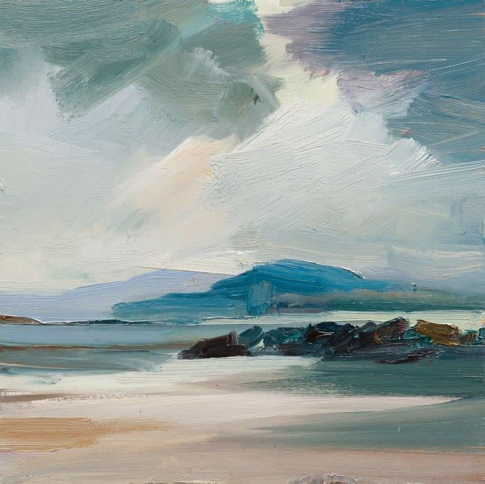 A Break in the Weather, Coppagh Beach, Co. Kerry oil on board 30 x 30 cm