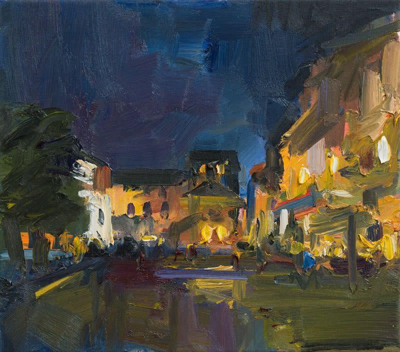 Evening in the Piazza, Orta San Giulio II oil on canvas 36 x 41 cm