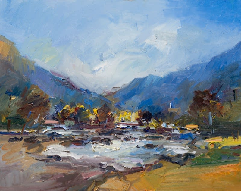 Autumn Day by a River, Late Summer. Riva Valdobbia oil on canvas 80 x 102 cm