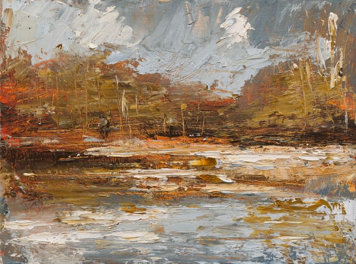 Creek Reflections (Sienna Gold) II oil on board 22.5 x 30 cm