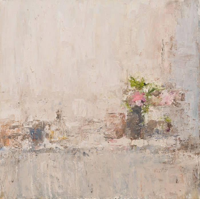 Windowsill with Hellebores oil on canvas 80 x 80 cm