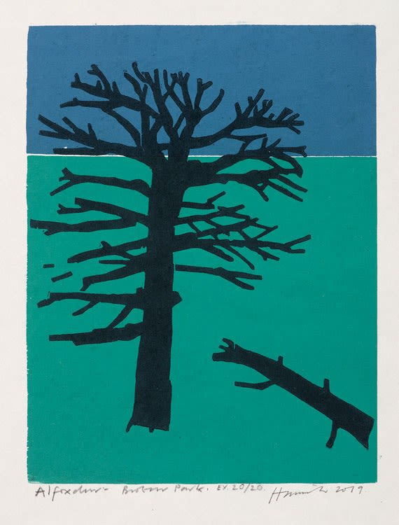 Tom Hammick Alfoxden Broken Park Edition variable reduction woodcut 36 x 28 cm edition of 20 Framed