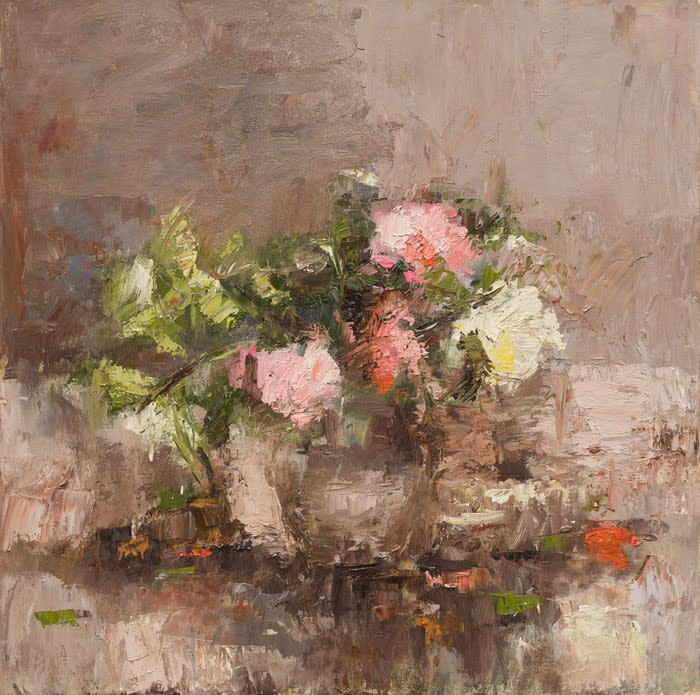 Garden Camellias oil on canvas 80 x 80 cm
