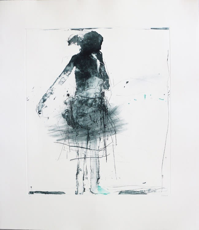 Henry Jabbour Dancer III lift ground etching and aquatint from two copper plates with dry point and spit bite 79 x 69 cm (paper size) edition of 15 Framed (available unframed, £625.00)